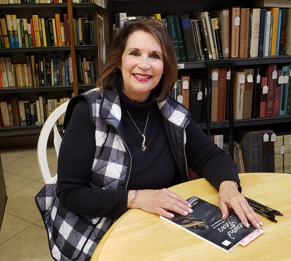 Kathleen Steele is here for the signing. The book is Beyond Tears, the experience of one family in the 1900 Storm in Galveston, based on a true story. Until 4 today.