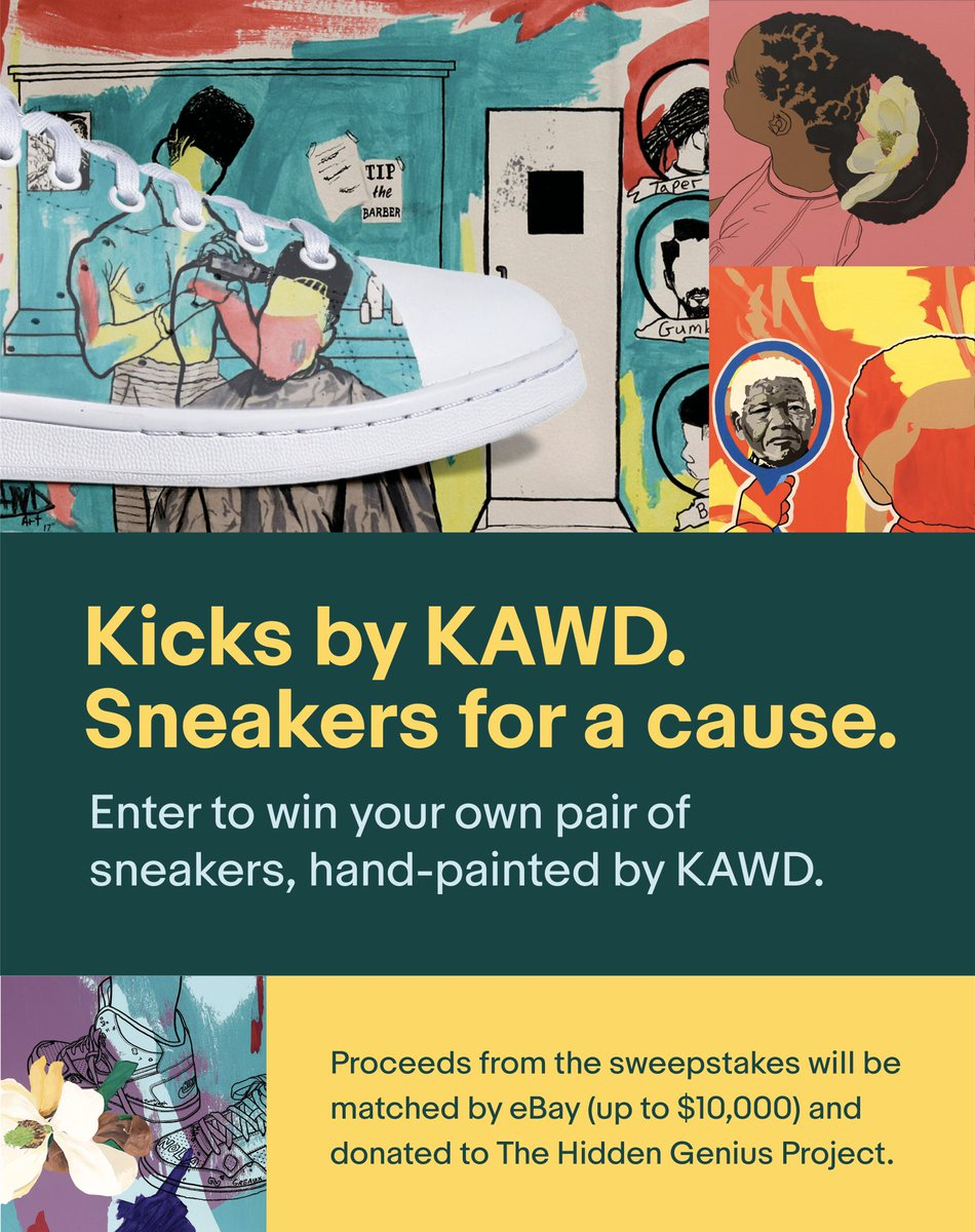 Don't sleep on these FRESH 🔥 #sneakers created by @kawdart! ENTER NOW to win your own pair of hand-painted kicks & support @hiddengeniuspro at the same time. 🙌🏾  S/O @eBay @afrotech @dhoopcamp  https://t.co/7ONUefGYwh  #AfroTech   #AfroTech19    #TheHiddenGeniusProject https://t.co/Vgo4HOrVLU