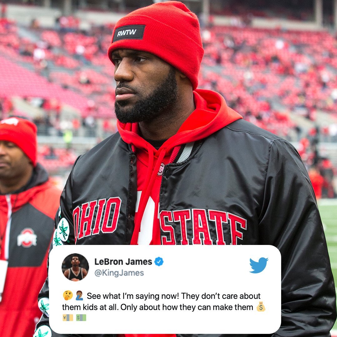 LeBron tweeted Saturday his support of Ohio State star Chase Young.  Young said he took a loan from a family friend to help fly his girlfriend to the Rose Bowl and has since repaid it. (via @KingJames)<br>http://pic.twitter.com/I8PJOumfO9