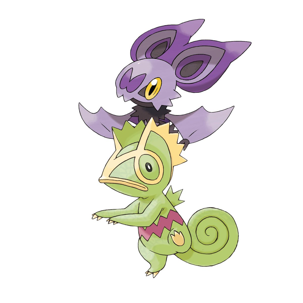 A lizard and a bat, whats up with that? #ThankYouGameFreak 💚💜