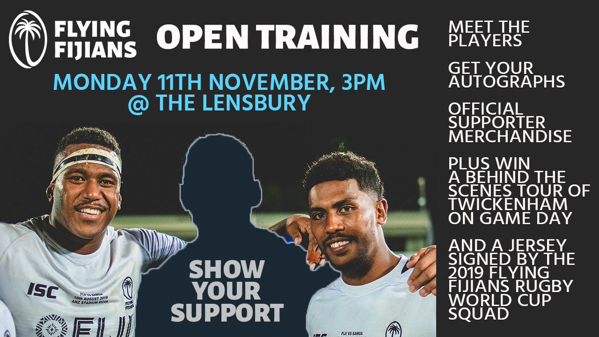 Have you marked your diary to Meet the Flying Fijians?! Our boys are en route 🛫 to London and excited to meet their UK family ahead of Saturdays monster Killik Cup battle against the @barbarians_fc Come down to the Lensbury in Teddington, London, from 3pm.