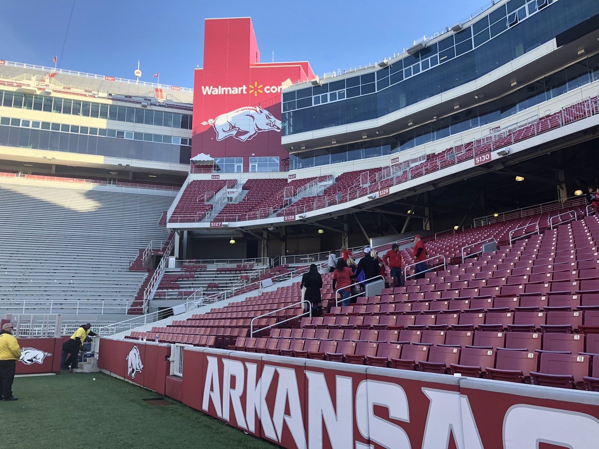 Literally the last family in Razorbacks Stadium, Ty Storey's. Have plenty to write about a day they'll never forget.