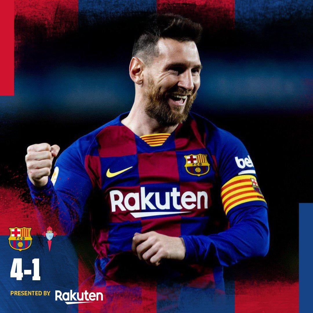 👑 CHECKMATE! FINAL: Barça 4-1 Celta ⚽ #Messi (23, 45+1, 48); @5sergiob (85) / Olaza (42) 💪🔵🔴 #ForçaBarça
