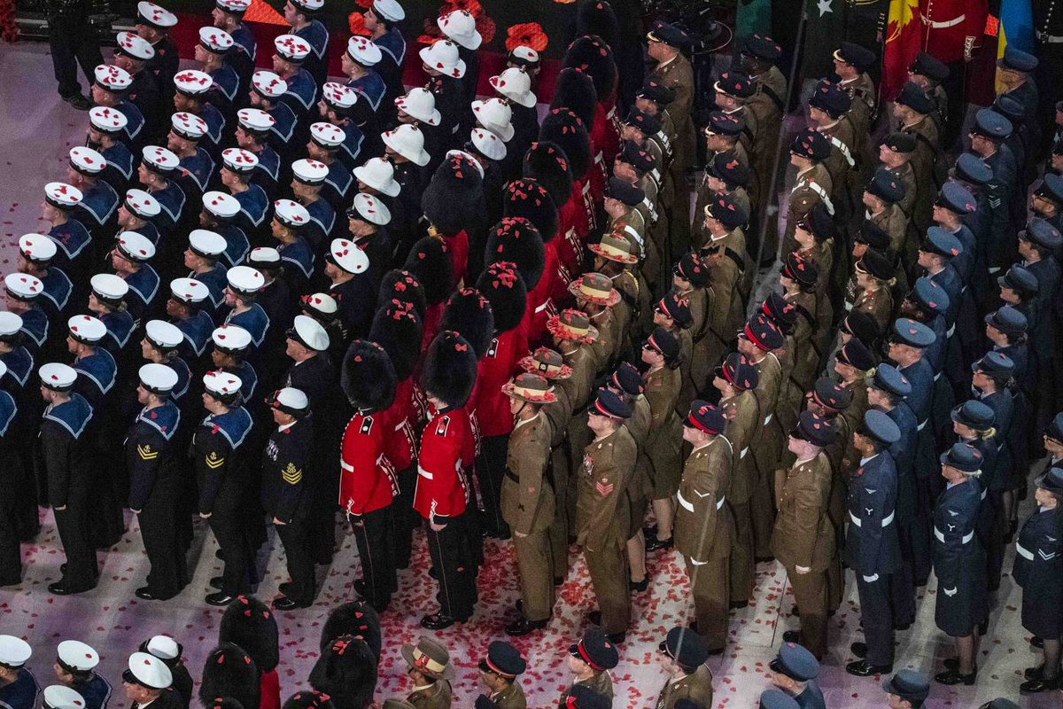 Another remarkable evening at the @poppylegion #FestivalofRemembrance ends with poppies floating down on to the heads of Service personnel. For Your Tomorrow We Gave Our Today. Lest We Forget. @BBCOne