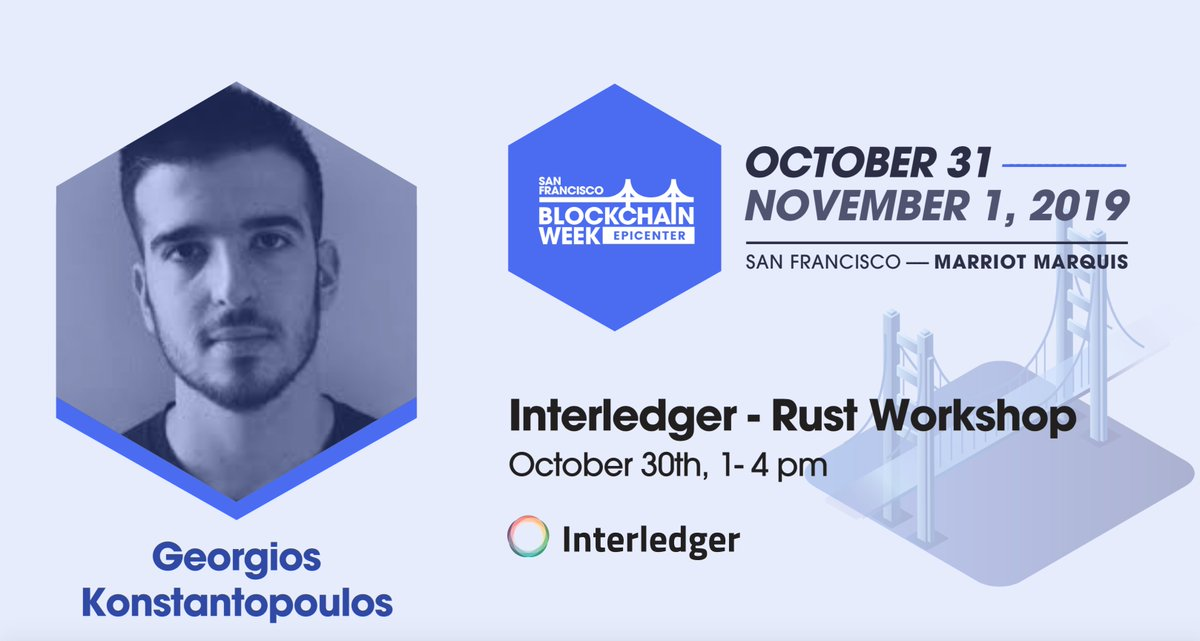 "We're excited to announce that @gakonst will be leading the ""Interledger Rust Workshop"" at #SFBW19 on Oct 30 from 1-4pm.  is blazing-fast Rust implementation of the @Interledger Protocol.   Sign up here:"