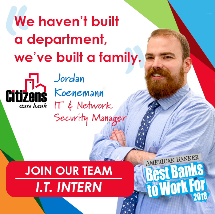 APPLY TODAY: We are hiring an IT Intern at our La Crosse location! If you believe in WORK HARD-PLAY HARD, Citizens State Bank is the place for you! Click here to learn more about the #CitizensExperience and see all of our amazing opportunities today! https://t.co/yPuJQYRErS https://t.co/3ZXrNetAgh
