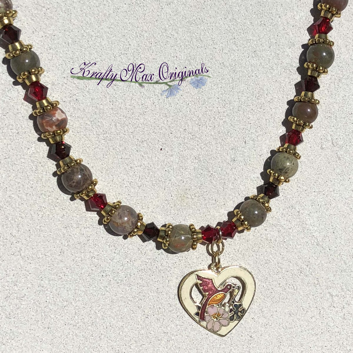 Red and Green Gemstone and Swarovski Crystal Necklace Set with Cloisonné Heart with Bird $48  #handmade #jewelry #supporthandmade #buyhandmade #handmadelove #jewelrydesigner #jewelryart #uniquejewelry #handcrafted #kraftymax #kmax