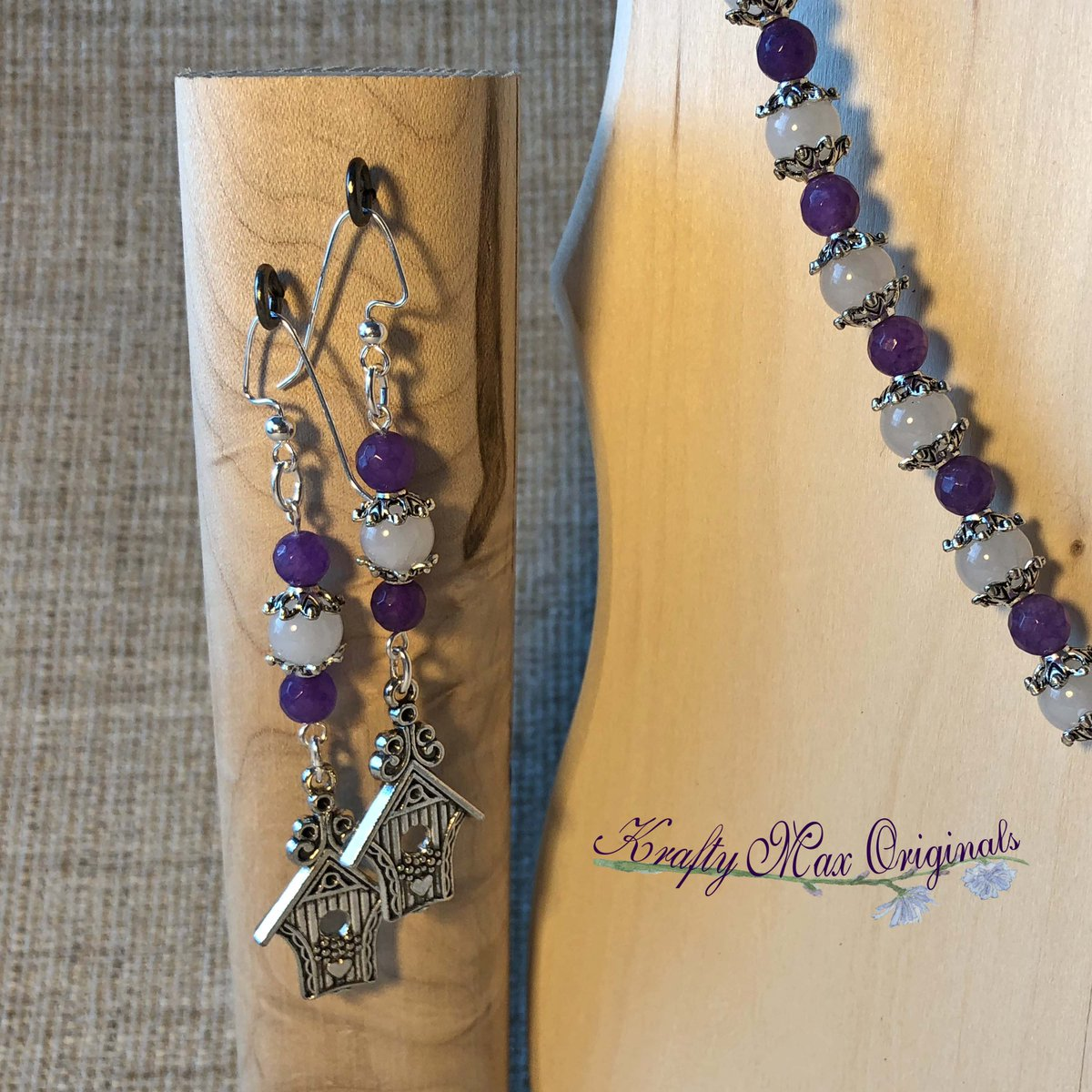 Purple and White Gemstone Necklace and Earrings Set with Birdhouses $38  #handmade #jewelry #supporthandmade #buyhandmade #handmadelove #jewelrydesigner #jewelryart #uniquejewelry #handcrafted #kraftymax #kmax