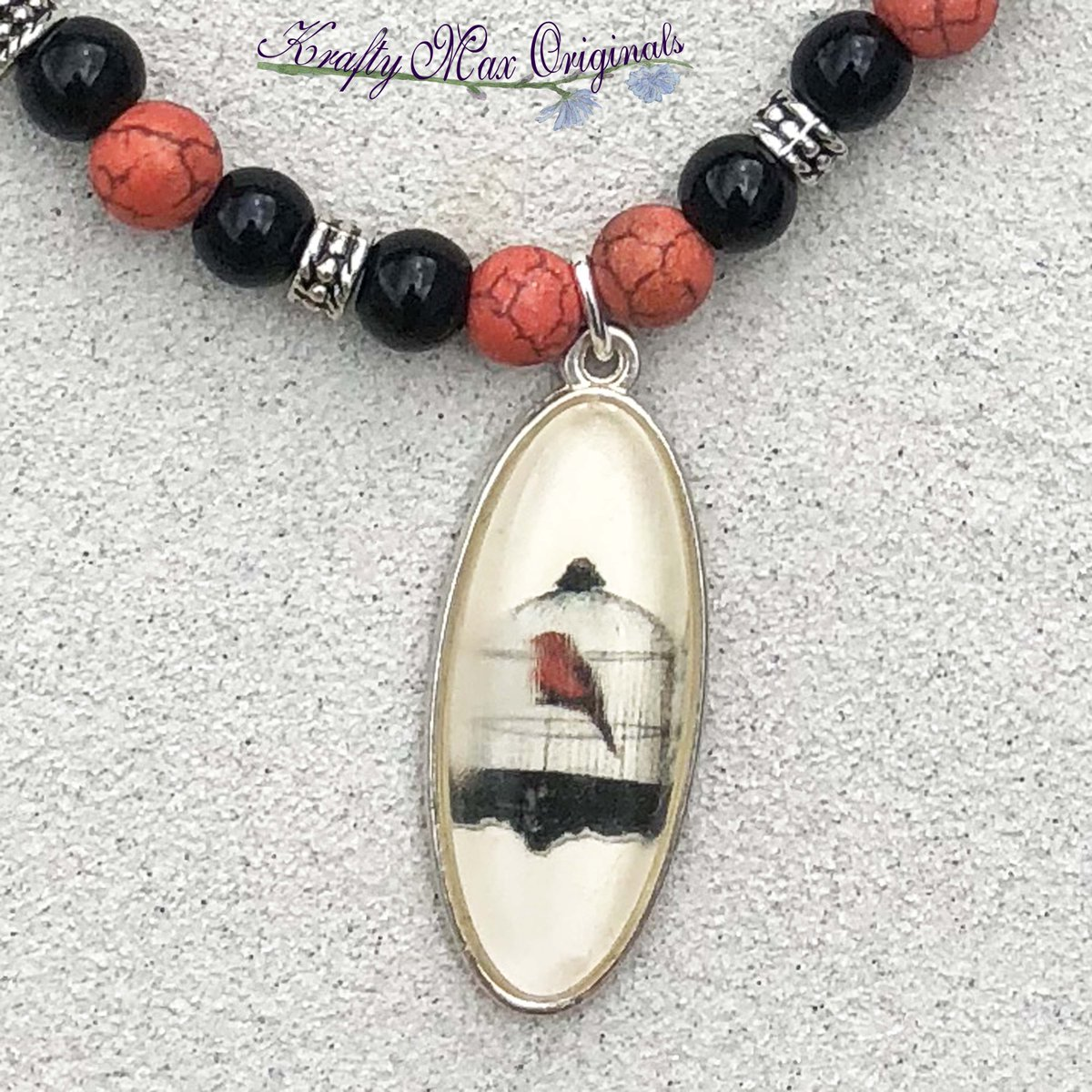 Red and Black Bird and Cage Necklace Set from Grandmothers Stash $23  #handmade #jewelry #supporthandmade #buyhandmade #handmadelove #jewelrydesigner #jewelryart #uniquejewelry #handcrafted #kraftymax #kmax