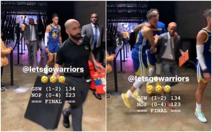 【影片】能不能像我這樣成熟點?贏球後Curry和Russell蹦蹦跳跳,而20歲小將一臉淡定!