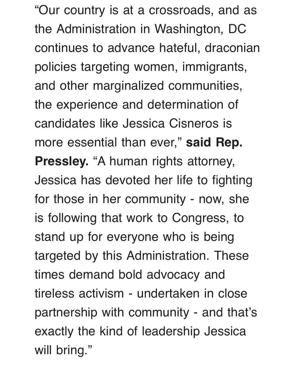 New: @AyannaPressley endorses Cuellar primary challenger @JCisnerosTX #TX28