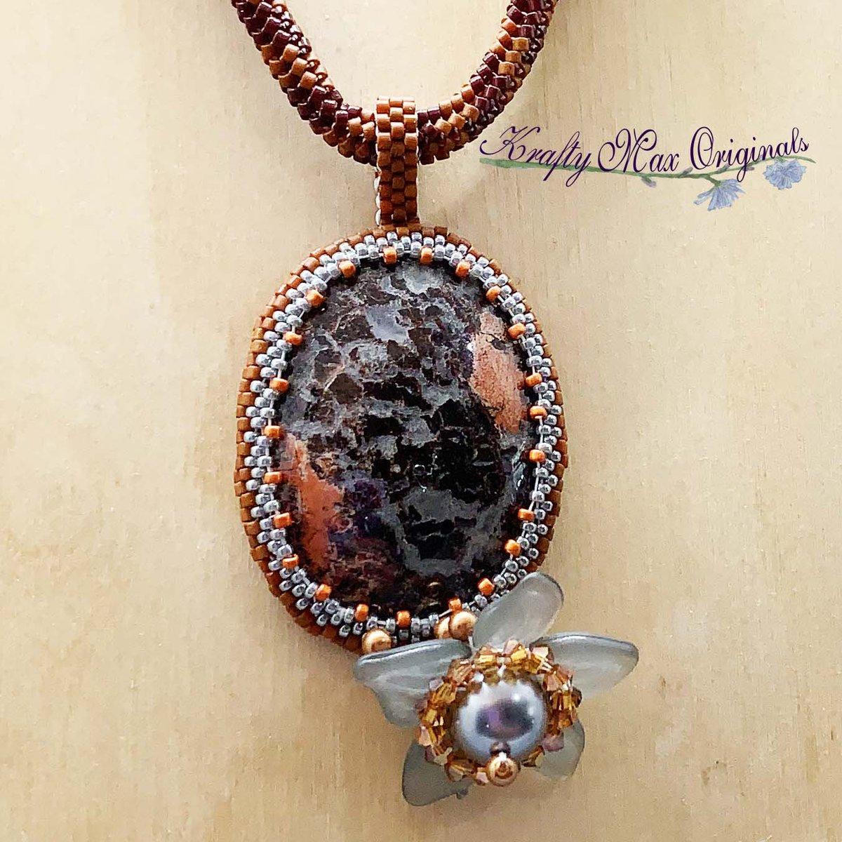 Brown Crazy Lace Jasper Beadwoven Wearable Art Necklace $119  #beadwoven #wearableart #art #offloom #original #handmade #buyhandmade #handmadelove #handcrafted #kraftymax #kmax #peyote #herringbone #bezel #necklace