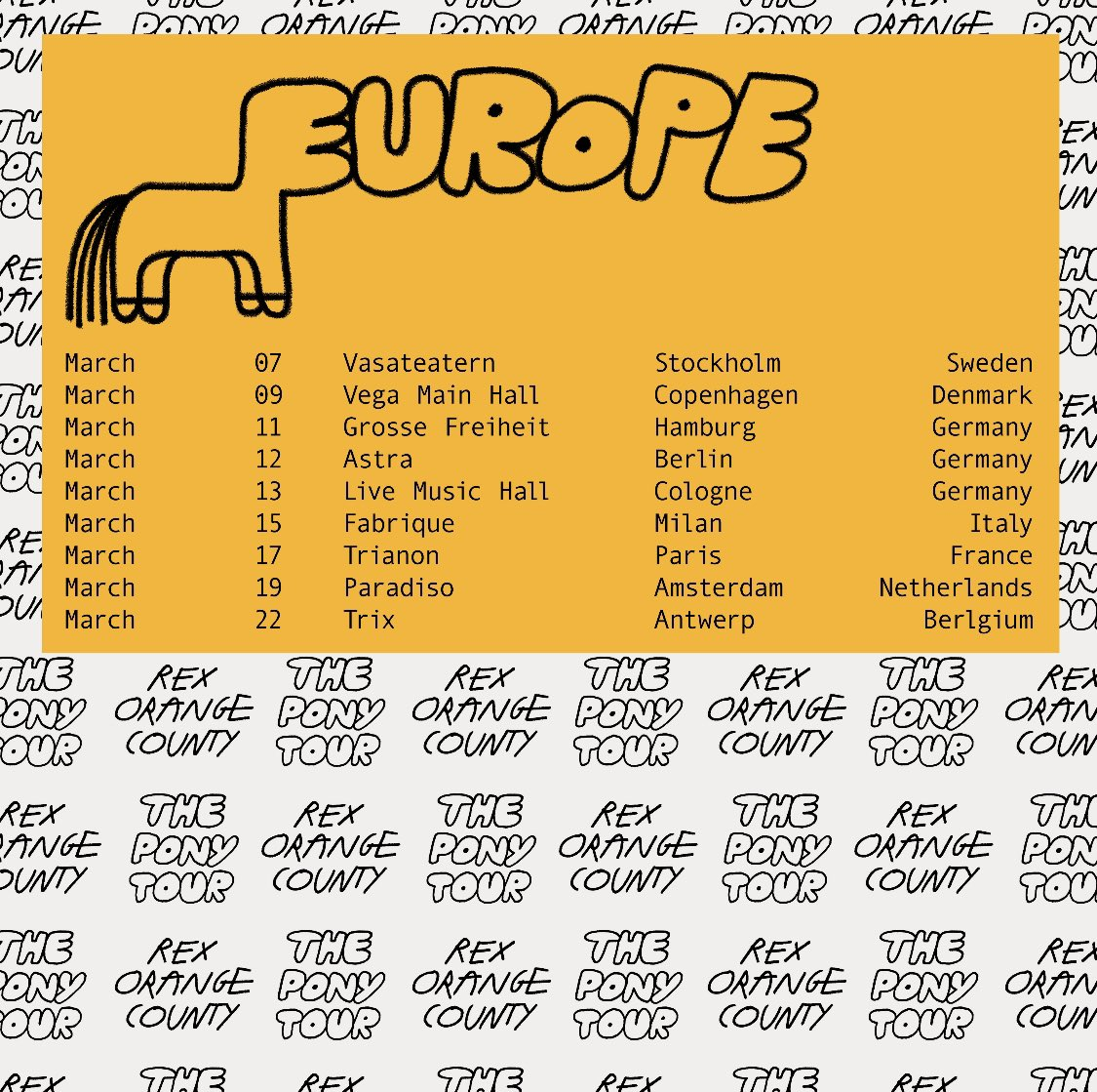 EUROPE 2020 , tickets on sale this Thursday 31st October, 10am Local 💛 more dates coming soon!!! tickets at rexorangecounty.com