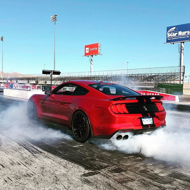 """0-60 in 3.3 seconds and the quarter mile in 10.7 seconds. Wanna destroy the rear tires? fordperformance didn't say how long that would take, but #LineLock makes it really easy. Click here to watch our full #RedlineReview on the 2020 ford #ShelbyGT500! """"The 2020 Ford Mustang"""