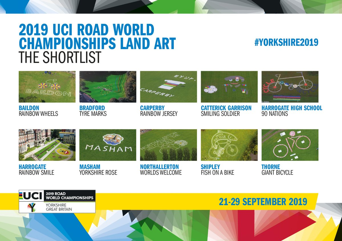 It's one month since the culmination of @Yorkshire2019 and we're delighted today to reveal the 10 pieces of work shortlisted for the coveted @Yorkshire2019 Land Art competition.   Have your say and vote for your favourite here ⤵️     #Yorkshire2019