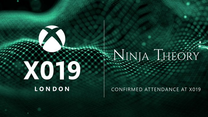 The X019 and Ninja Theory logos are placed side by side on a green and black textured background. Text Reads: X019 London. Ninja Theory. Confirmed Studio.