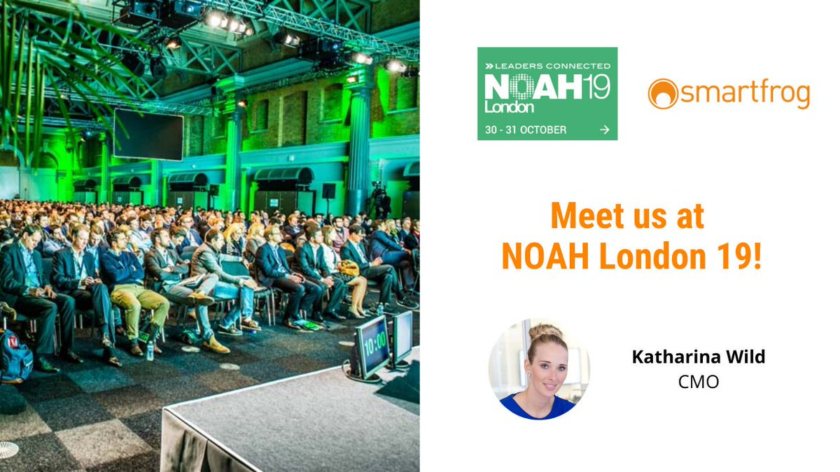 Meet us at the NOAH Conference in London this week! Don't miss our CMO Katharina Wild presenting the Smartfrog Group at 11.15am GMT tomorrow, on 30 October. #NOAHLondon19 #NOAHconference #leadersconnected https://t.co/V2k1nZha2G