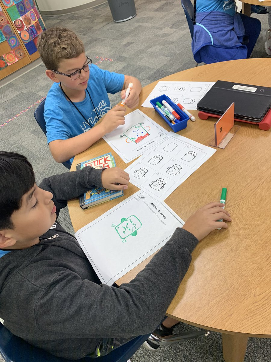 Look what's happening in Library! Listening to a Halloween book and drawing our very own monsters. Track meet cancelled? No problem! 🎃🎃 @CFBRainwater @DlrMaggie #RainwaterRocks #togetherwecan #betheexception @CFBProud https://t.co/XDfX8Vcc9t