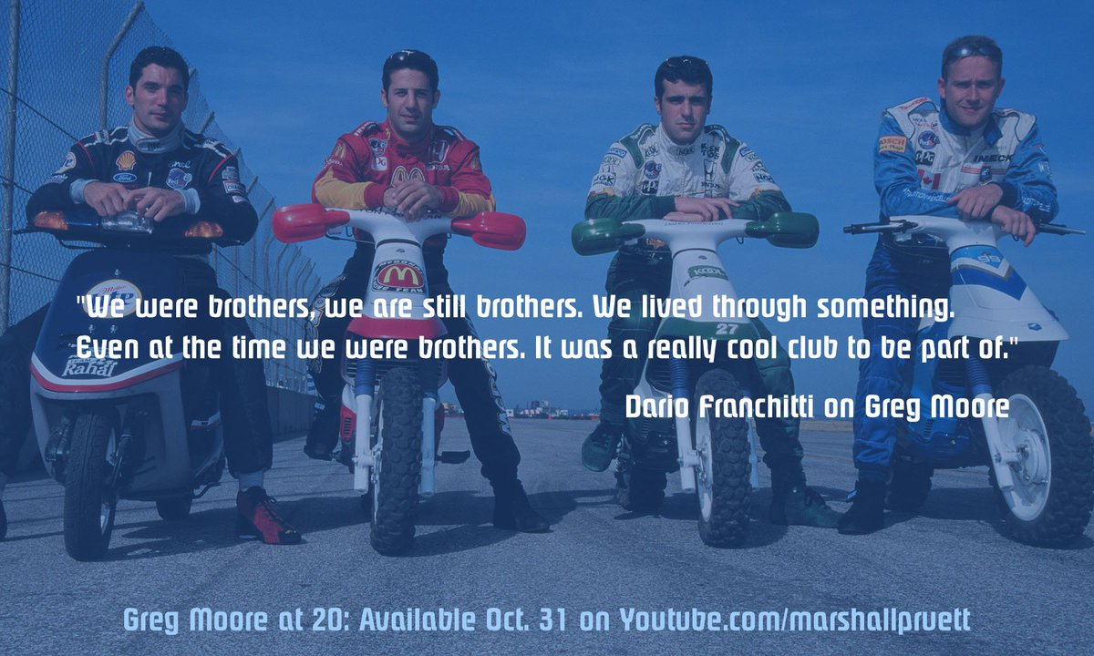 One of my favorite #CART photos of the Fab4 and this quote by @dariofranchitti sums up the friendship among him, #GregMoore @maxpapis & @TonyKanaan, especially 20 years later and still keeping his legacy alive. Tune in Thursday with @marshallpruett to hear more. #RedGlovesRule