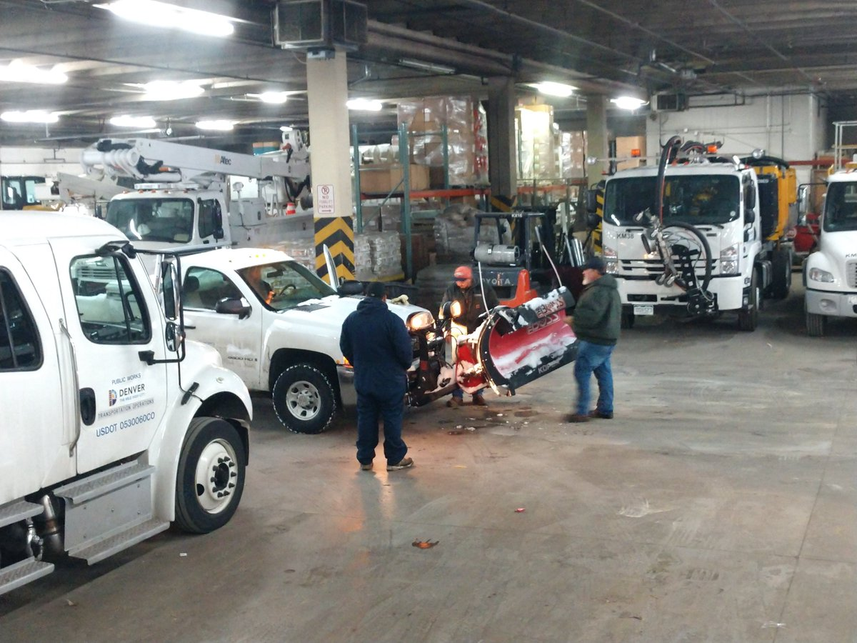Denver is readying its residential plows to go out early Wednesday morning; they work 3am to 3pm and will get a head start on clearing the side streets before people head off to work. Denver's big plows will continue working the main streets.