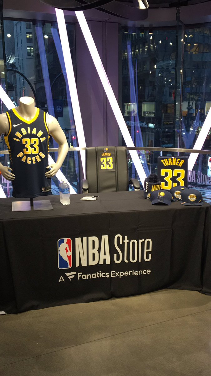 .@Pacers x @Original_Turner will be signing autographs for fans 6:30-7:30p TODAY @NBASTORE NYC!