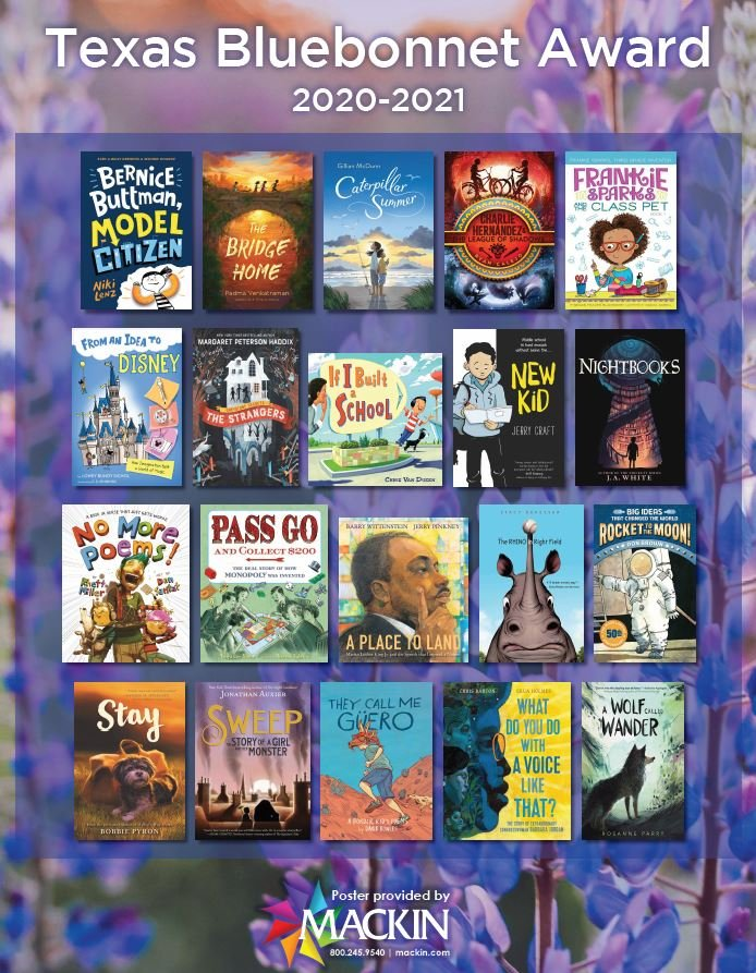"Mackin Educational Resources on Twitter: ""Introducing the 2020-2021 Texas  Bluebonnet Award List! You can download this beautiful poster for your  classroom/library for FREE here: https://t.co/LVb8KKZZyz 📚 #tlchat  #TexasBlueBonnet #amreading #edchat ..."