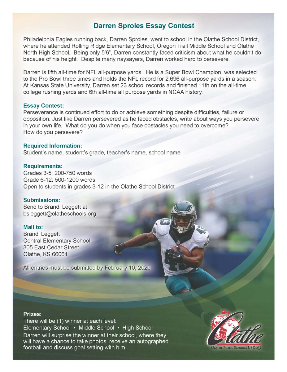 🗣️ OLATHE STUDENTS: Life is about overcoming adversity. Enter the @DarrenSproles Essay Contest and discuss how you persevere through obstacles. Winners receive a visit from Darren and more! All entries must be submitted by Feb. 10, 2020. #MyOlatheSchools X YOU CAN