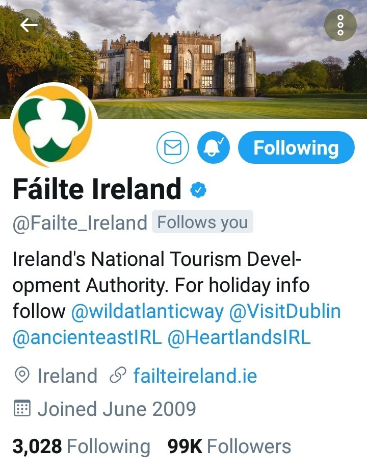 Hey guys! @Failte_Ireland only need 963 more Twitter Followers to reach the 100k mark! Let's get them over that magic line with loads of retweets so that more people abroad will get to hear about our wonderful little country #Ireland https://t.co/duhiCH1v89