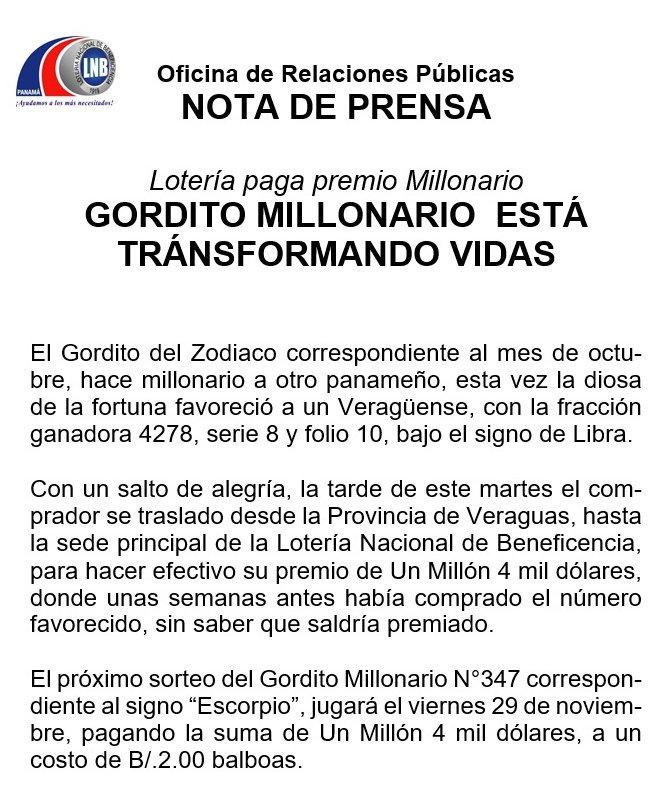 Loteria Nacional Pma على تويتر Por Primera Vez El Gordito