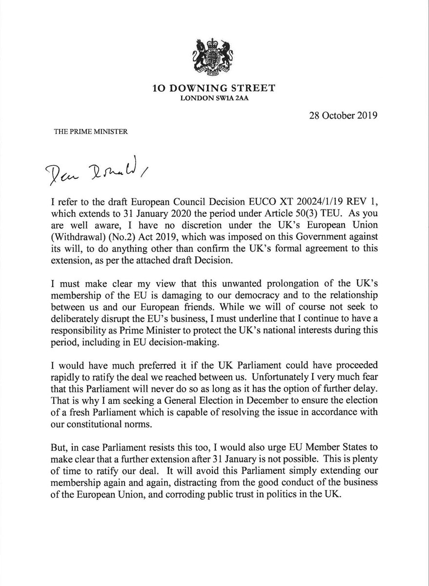 Boris asks the EU for an extension (see below letter). He would've been a hero if he'd challenged the Surrender Act in court, even if that meant going to jail to take us out on 31 Oct. Instead he starts this GE as another politician who's broken a big promise to the public...