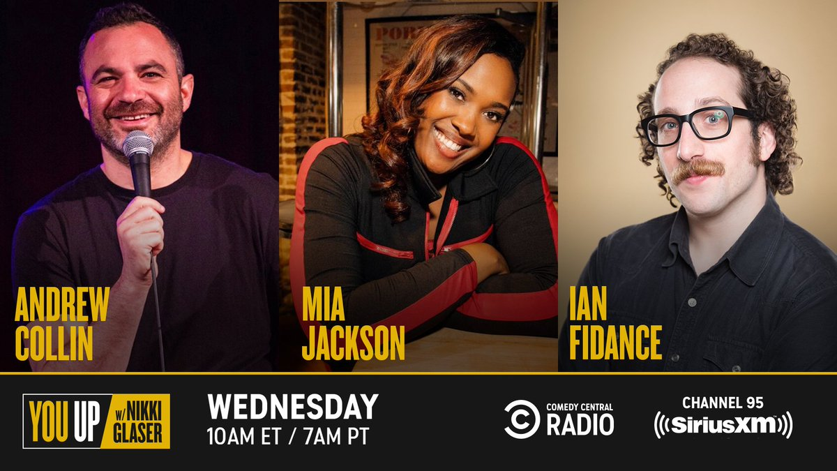 Wednesday's show will make your sides hurt from laughter. @NikkiGlaser hangs w/ @AndrewTCollin @miacomedy & @IANfidance on @SiriusXMComedy ch. 95