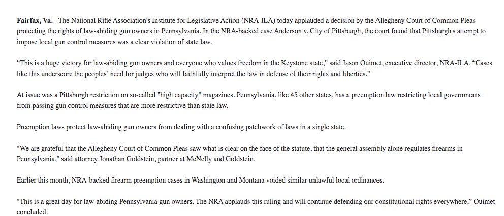 NRA statement: