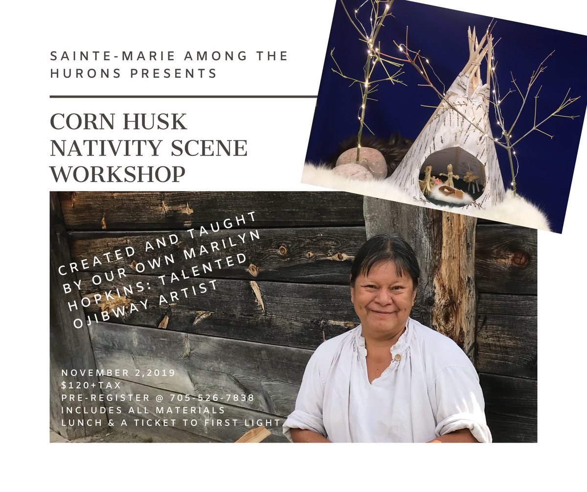 Make a wigwam structure with all of the corn husk figures to complete a beautiful nativity scene.  This talented lady has worked @SainteMarie_hhp for over 30 years, join Marilyn as she shares her creativity!  Call 705-526-7838 or message us on Facebook https://t.co/iJr60Kg8SG