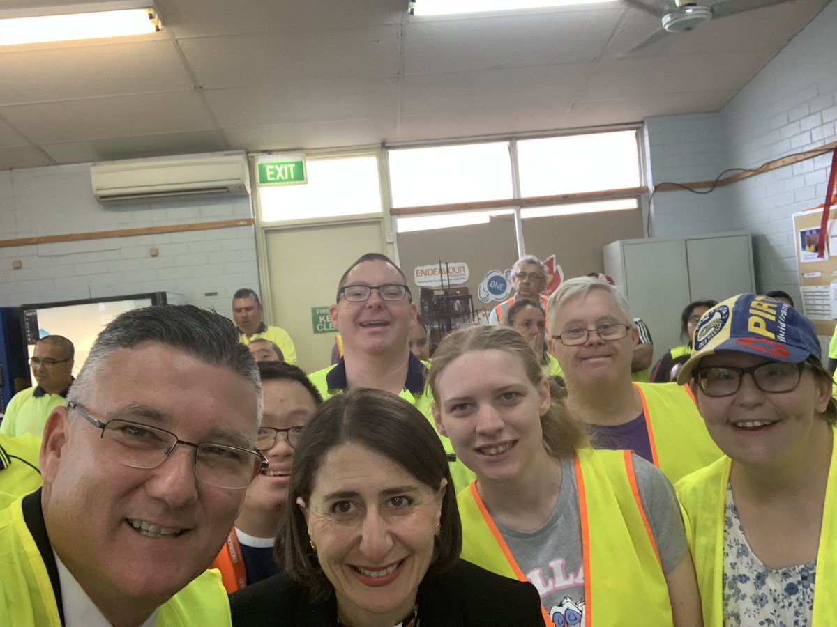 """Gladys Berejiklian on Twitter: """"What an amazing welcome from the staff at  the Endeavour Foundation warehouse in Seven Hills- the largest employer of  people with intellectual disability in Australia.… https://t.co/3oNHXjZtF9"""""""