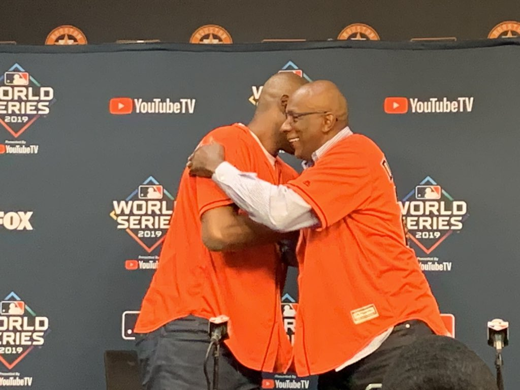 NBA legends and former Houston Rockets teammates Hakeem Olajuwon and Clyde Drexler are throwing and catching the first pitch tonight at Game 6 of the World Series. Drexler talks about going to Astros games as a kid. When asked if he can pitch, Olajuwon laughs 'We'll see.'