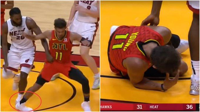 【影片】90度彎折!特雷楊落地時腳踝遭遇嚴重扭傷,本場不會回歸!