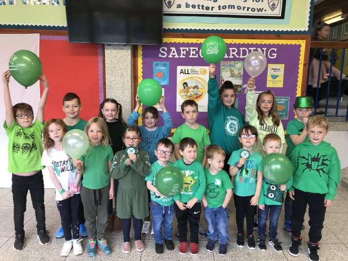 Nessy on Twitter: The children at @StMarysKillyl Primary School taking part in the #GreenTongueChallenge and supporting #GOGreenfordyslexia…