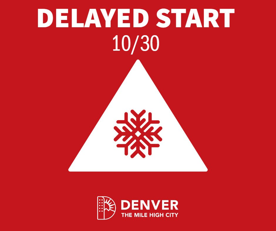 🚨 Due to inclement weather conditions, @CityofDenver government agencies will open for business today, Wednesday, Oct. 30 at 10am.🚨 You can visit denvergov.org/snow for any additional updates and answers to your snow response questions. 💻 #cowx