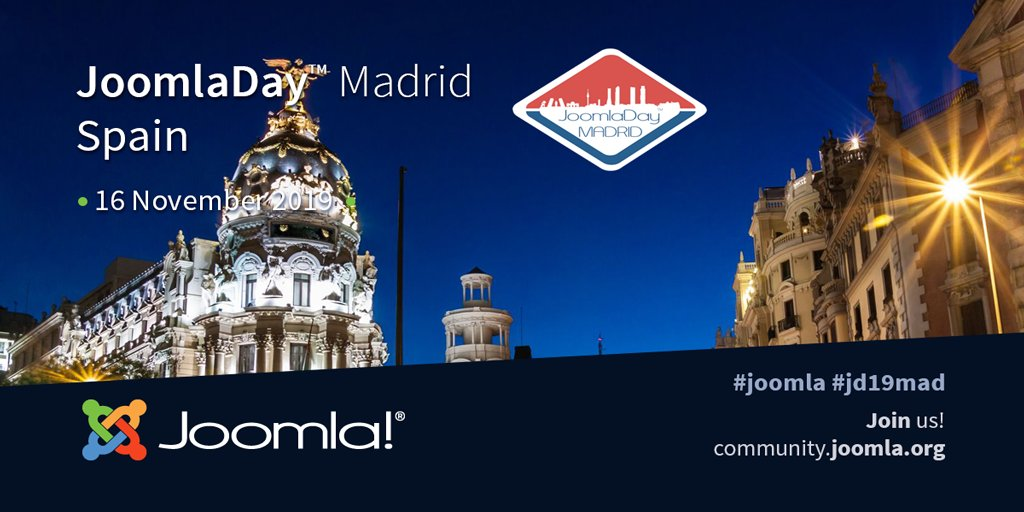 Don't miss out! #JoomlaDay Madrid November 16, 2019 #JD19MAD #Joomla #learning #CMS   https:// community.joomla.org/events/joomlad ays/3963-joomladay-madrid-2019.html  … <br>http://pic.twitter.com/1RbnQ0sleD