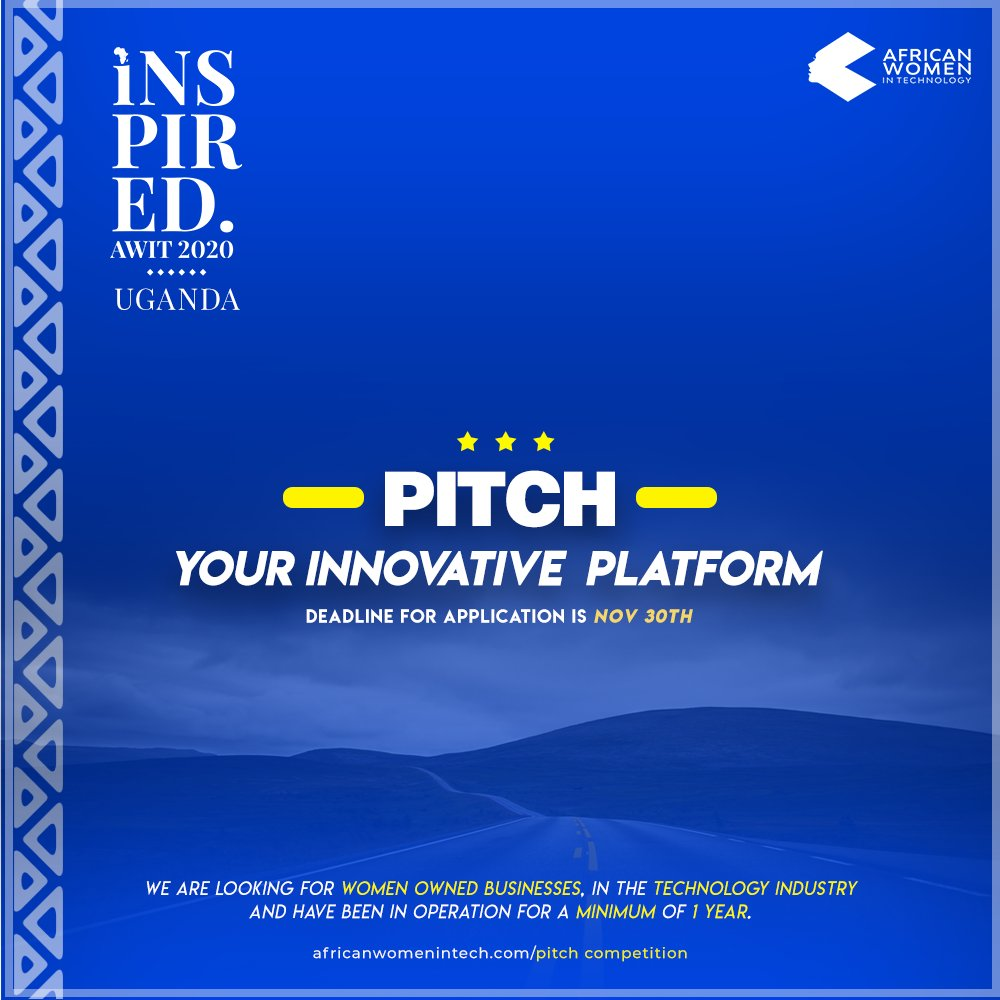 Uganda! Enter the pitch competition at #AWITUganda20 @AfricanWIT and stand the chance to win amazing prizes. Register via https://africanwomenintech.com/pitch-competition-submission/… if you're a woman owned business in tech and have been operational for a minimum of one year.#womenintech #tech #ugandapic.twitter.com/4MQgghNWiH
