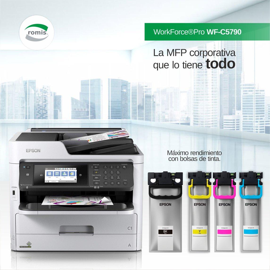 Máxima productividad, velocidad de 34ppm y un menor consumo de energía. Copia, imprime, escanea y fax. Inalámbrica, Ethernet & PCL/PS. Tinta resistente al agua, las manchas y la decoloración. https://www.romis.com.uy/Multifuncion-WorkForce-Pro-WF-C5790/…