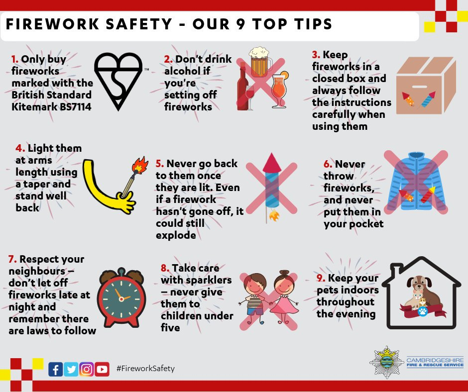 Planning on hosting your own #fireworks display?🎆 Wed much rather you attend an organised display, but if youre having your own make sure you follow our advice 👇 Read more ➡ bit.ly/32O6M0Z #TeamCambsFire #FireSafety #RememberRemember