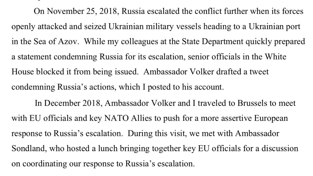 From Volker advisor & State official Chris Anderson's opening statement: When Russia attacked Ukrainian military vessels heading to Mariupol, State quickly prepared a statement condemning Russia for its escalation but top officials in the White House blocked it from being issued.