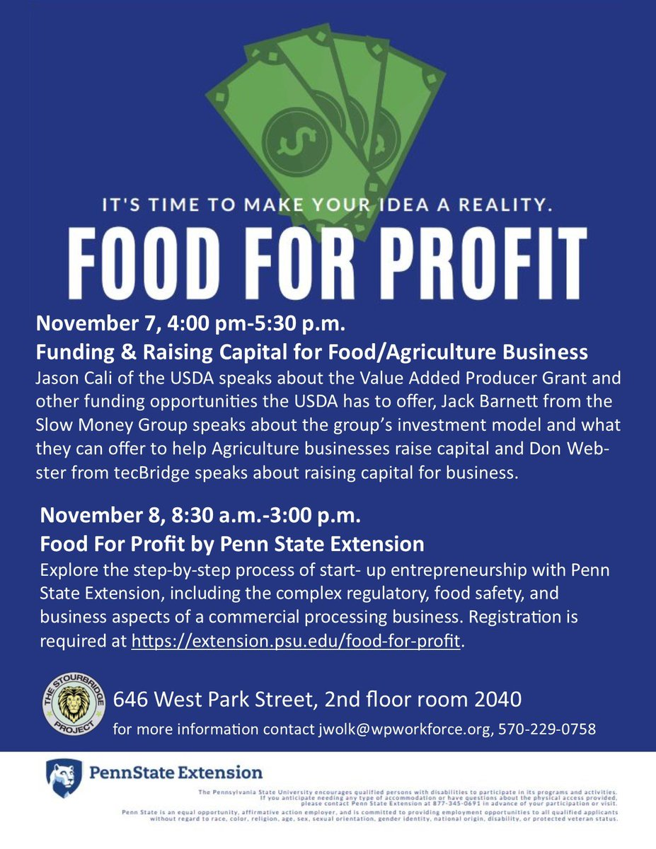 Take a look at these awesome workshops! Regsiter here at extension.psu.edu/food-for-profit