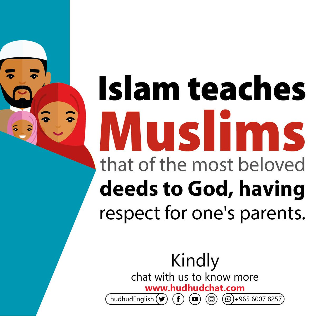 #Islam teaches #Muslims that of the most #beloved deeds to #God, having #respect for one's #parents.  Kindly, chat with us to know more:  https:// chat.hudhud.info      #HonorYourMother #PlayStationPGW #Hudhudchat <br>http://pic.twitter.com/qLIMKlSExW