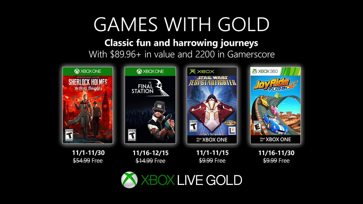 Xbox Live Games with Gold November 2019