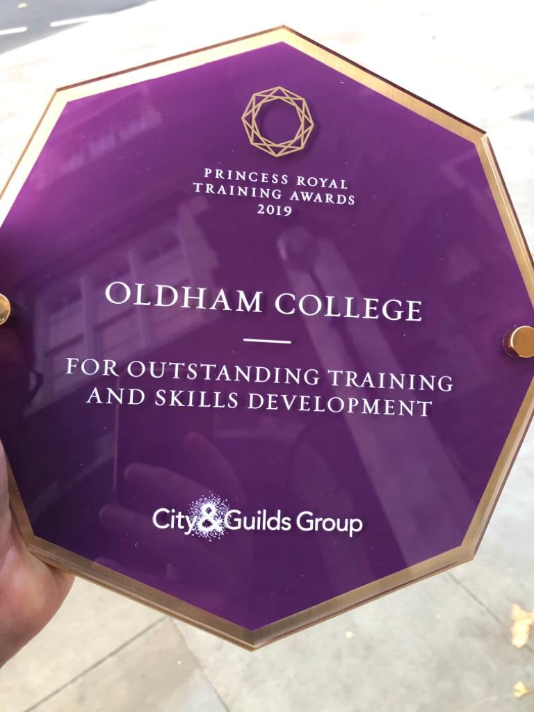 Our latest award... Handed over today this prestigious Princess Royal Training Award (PRTA) is for our flagship Teaching for Distinction programme. This accolade is the first ever for a college in the Greater Manchester City Region. @cityandguilds