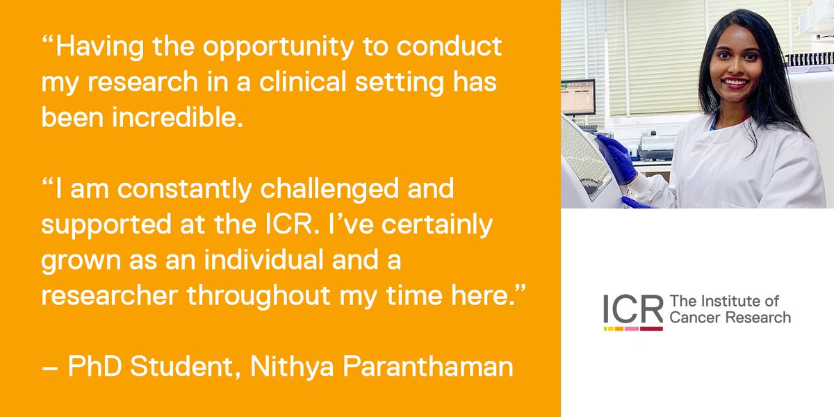 #PhD student Nithya Paranthaman talks about life as a PhD student at the ICR, and working with scientists and clinicians at the ICR and @royalmarsdenNHS buff.ly/2MWX6f6