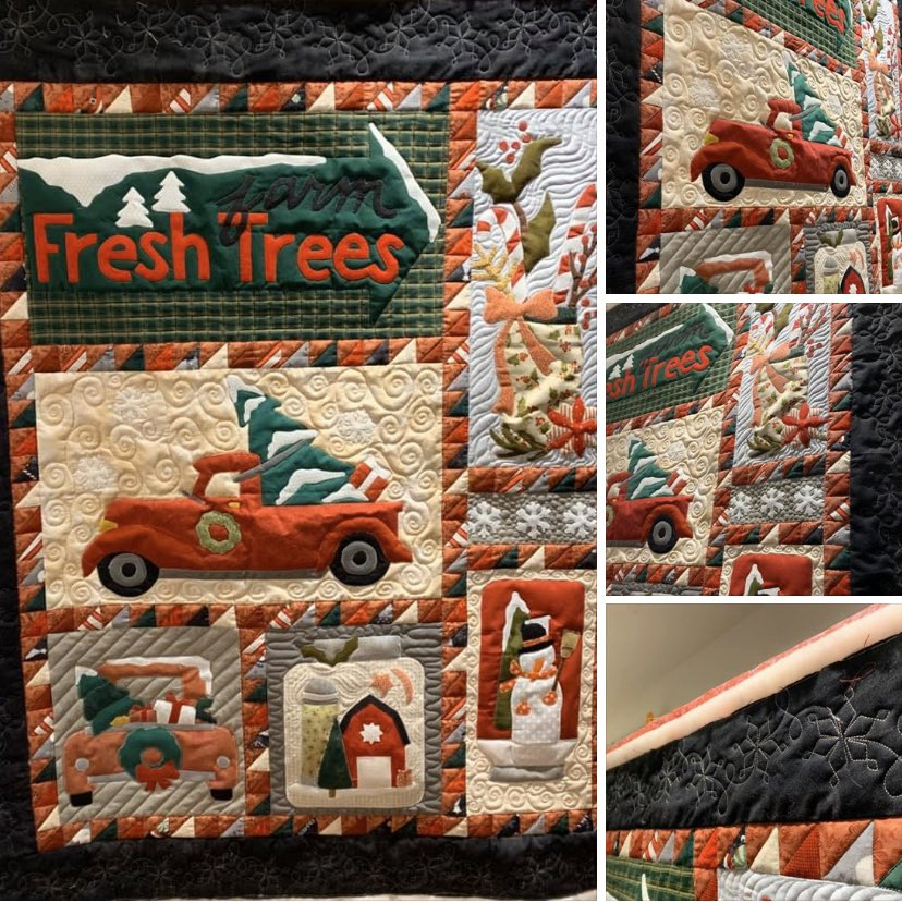 """This beautiful """"Bringing Home The Tree"""" quilt was so much fun to custom quilt and the wool Quilters Dream Batting was the perfect fit to bring the applique to life with the quilting! #bringinghomethetree #customquilting #christmasquilt #buttermilkbasin #battgirls https://t.co/BadL9800tk"""