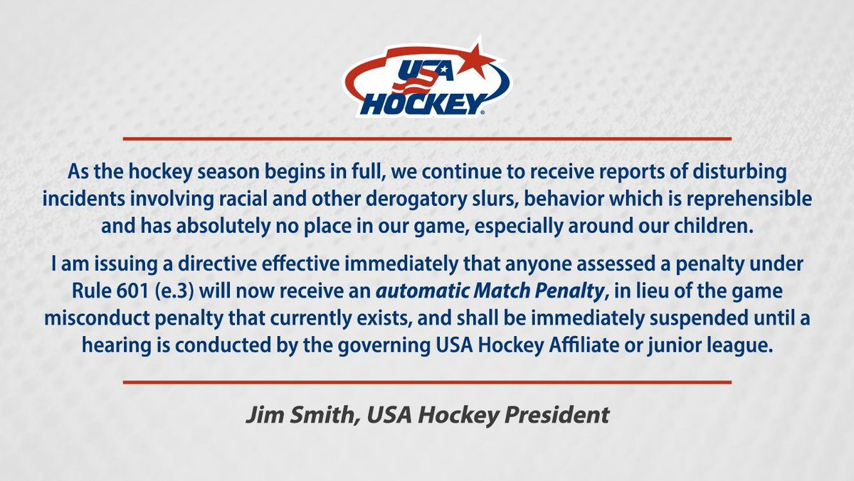 #ICYMI | Racial & derogatory slurs of any kind have no place in the game. #HockeyIsForEveryone Read the full letter from USA Hockey president Jim Smith → bit.ly/2Wwd4zZ